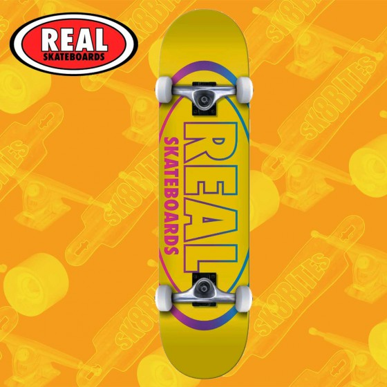 "Real Skateboards Team Oval Gleams Yellow 8,25"" Tavola Skateboard Street Completa"