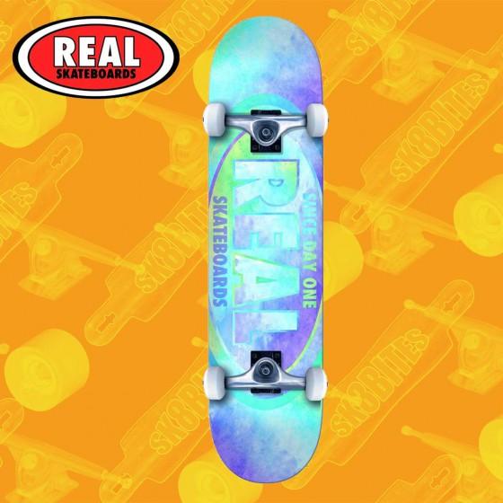 "Real Skateboards Team Oval Watercolor Green  7,75"" Tavola Skateboard Street Completa"