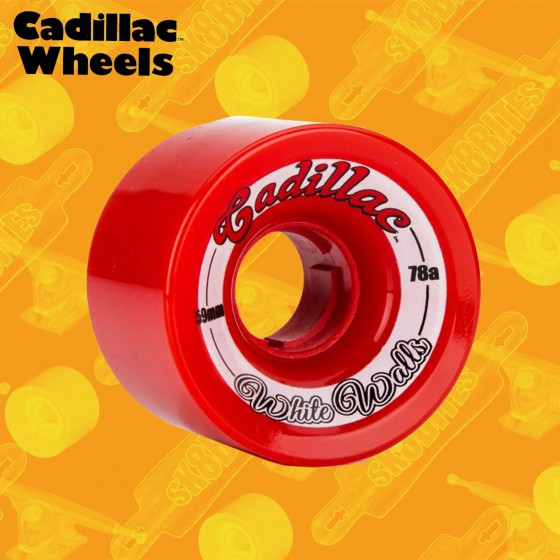 Cadillac White Walls 59mm Red Longboard Carving Cruising Wheels