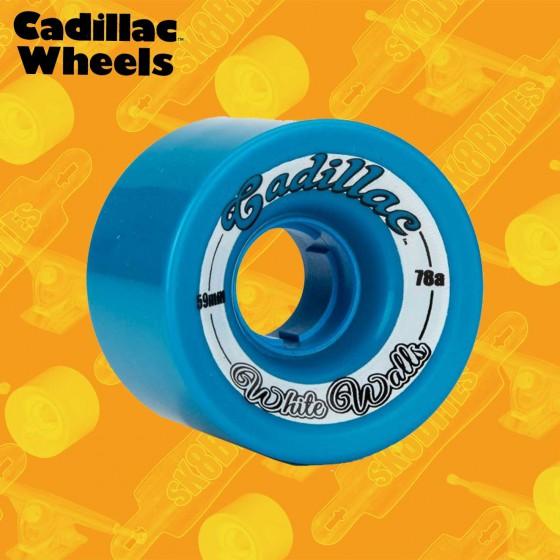 Cadillac White Walls 59mm Blue Longboard Carving Cruising Wheels