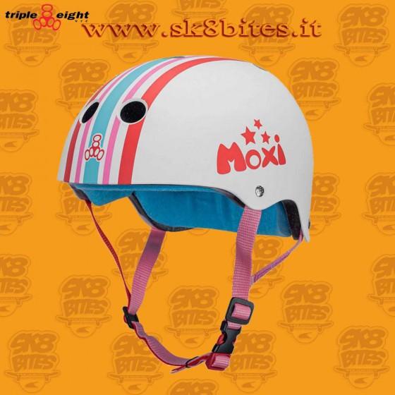 Triple Eight Moxi Stripey Certified Sweatsaver Skateboard Longboard Roller Helmet