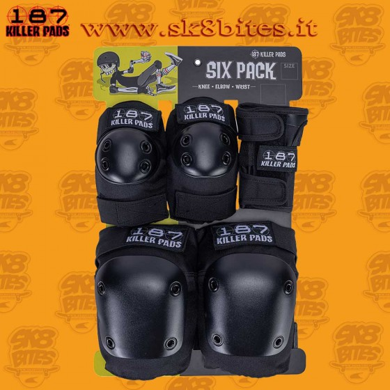 187 Killer Pads Moxi Adult Six Pack Black Protezioni Skateboard Longboard Pattini Roller