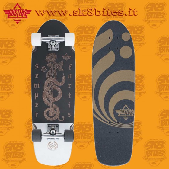"""Dusters Fortis Black White 29,5"""" Complete Cruising Carving Deck"""