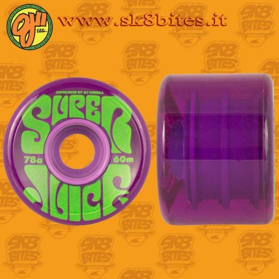 Oj Wheels Super Juice 60mm 78a Purple Ruote Longboard Freeride Carving Cruising
