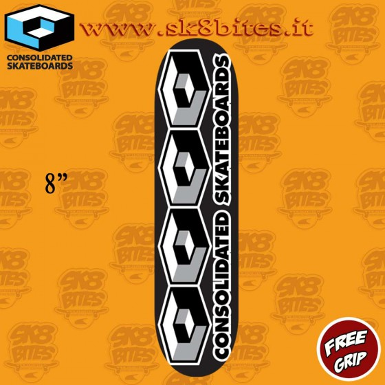 "Consolidated Skateboards 4 Cubes Black 8"" Skateboard Street Deck"