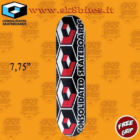 """Consolidated Skateboards 4 Cubes Red 7.75"""" Skateboard Street Deck"""