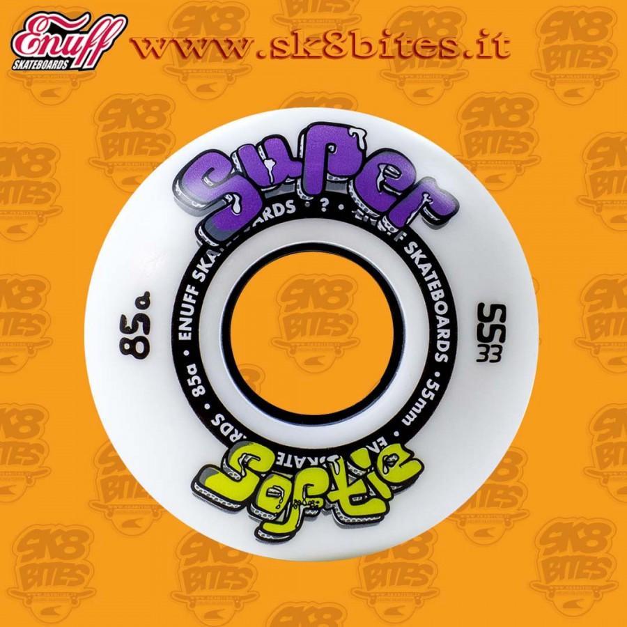 Enuff Super Softie White 55mm 85a Skateboard Street Wheels