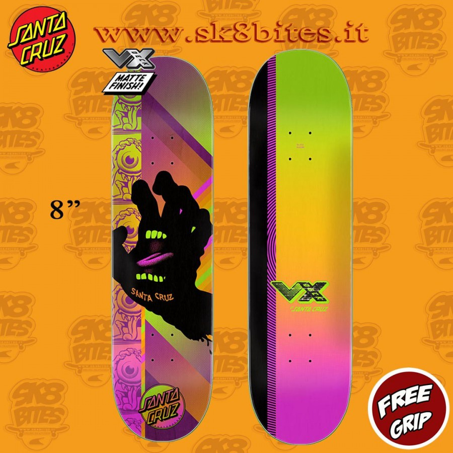 "Santa Cruz Afterglow Hand VX 8"" Skateboard Street Deck"