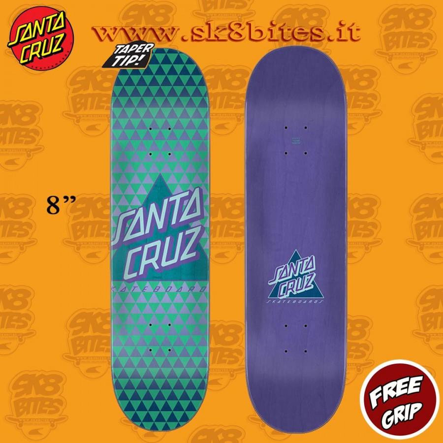 "Santa Cruz Not a Dot Taper Tip 8"" Skateboard Street Deck"
