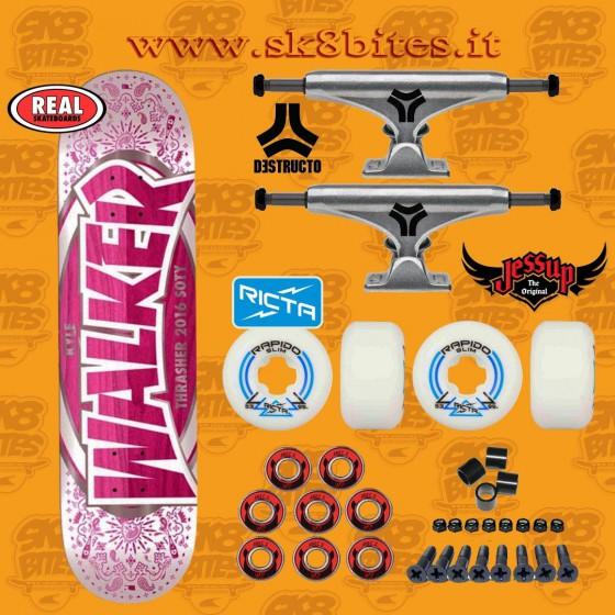 "Real Skateboards Walker 8,06"" Destructo Trucks Set Up Tavola Skateboard Street Pool"