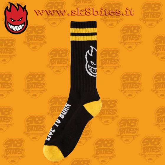 Spitfire Headsup Black Yellow White Sock Skateboard Street Unisex