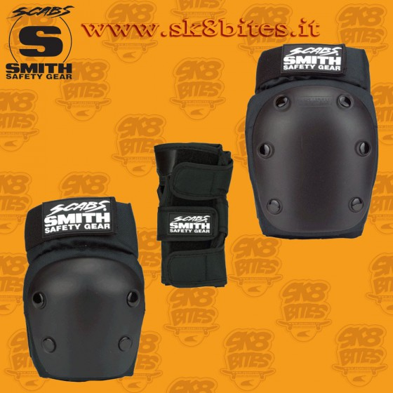 Smith Scabs Adult 3 Pack Black Protezioni Skateboard Longboard Pattini Roller