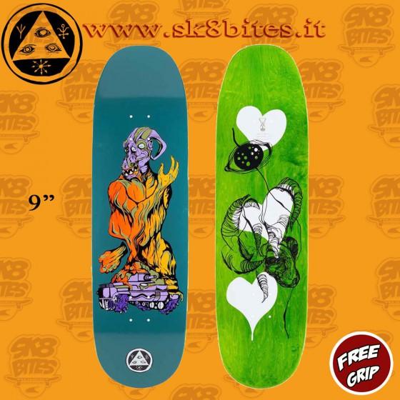 """Welcome Warren Peace Dusty Teal Baculus 2 9"""""""" Skateboard Street Deck"""