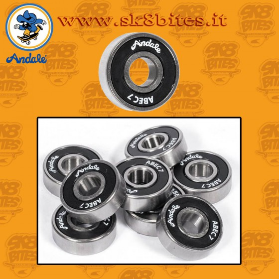 Andale Abec 7 Black Gold Skateboard Street Pool Longboard Bearings