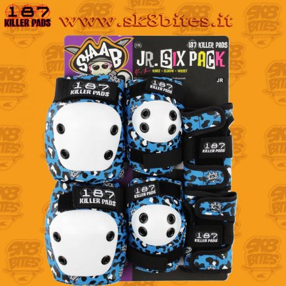 187 Junior Six Pack Blue Skateboard Street Skatepark Protective Set Up Complete